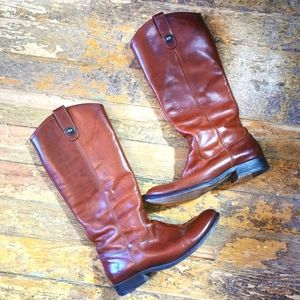FRYE Melissa pull-tab brown leather boots